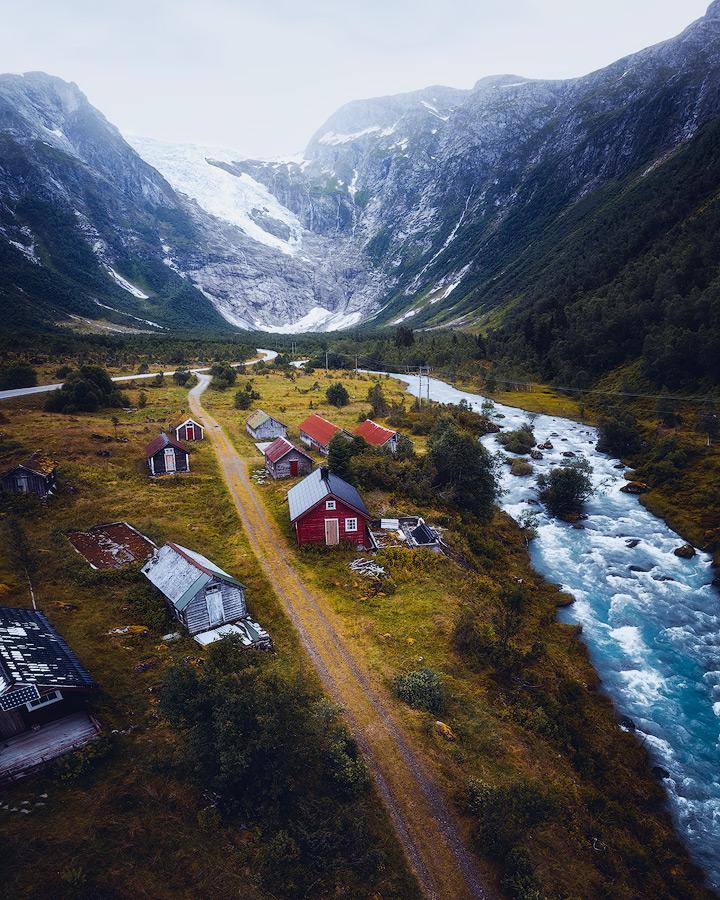 Bøyabreen glacier in Norway.