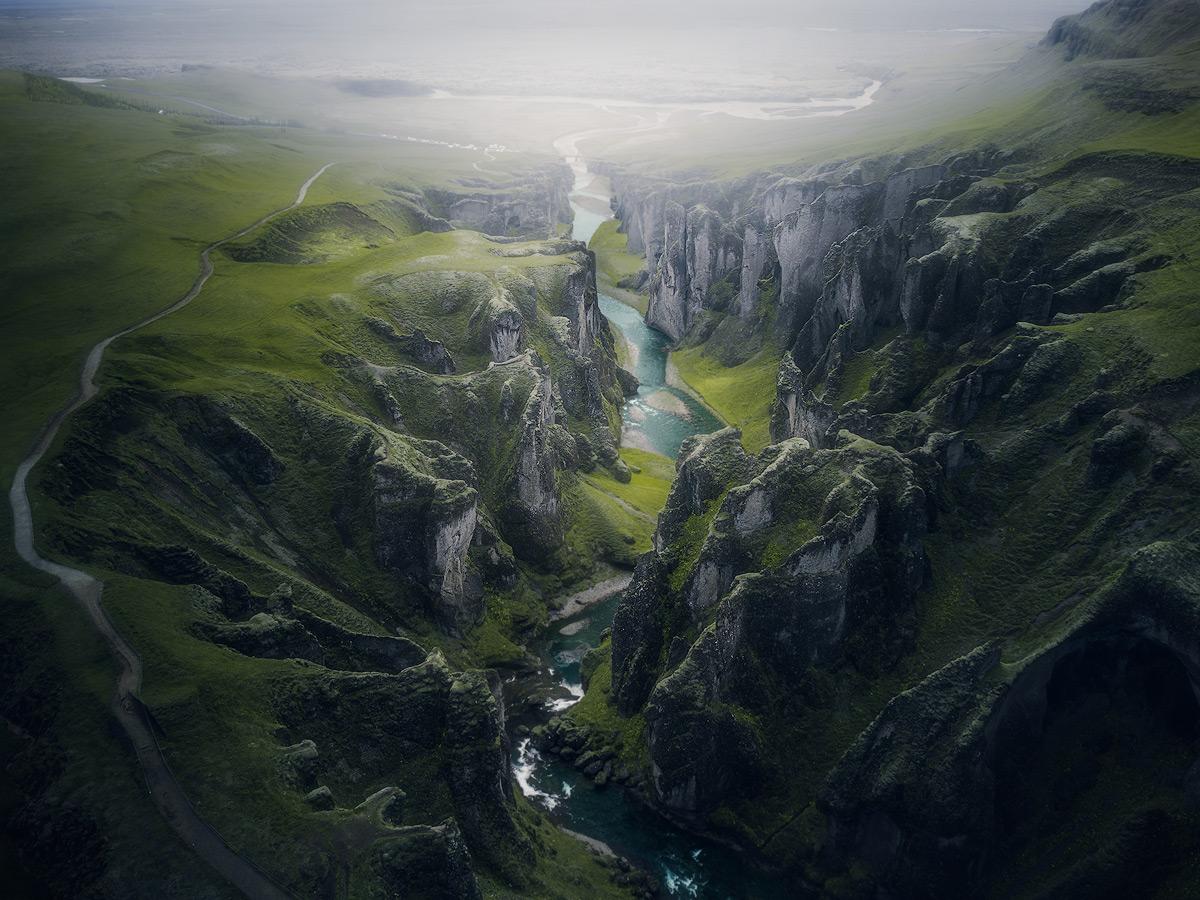 Droneshot of Fjaðrárgljúfur on Iceland.
