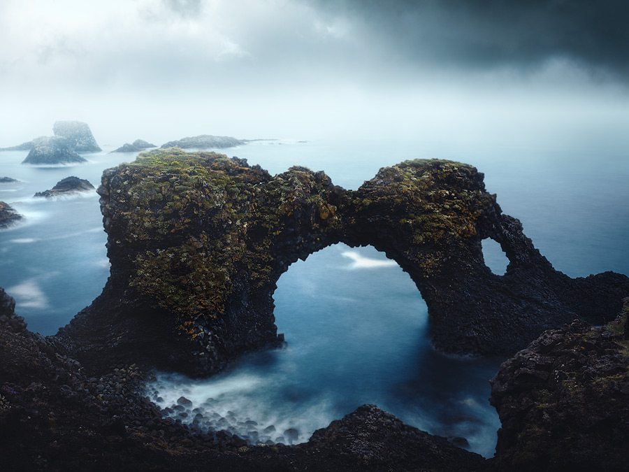 Gatklettur on Snæfellsjökull on Iceland.