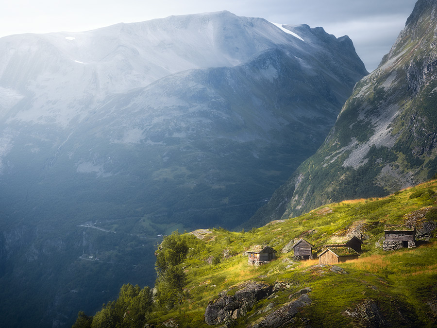 Old farmer houses in Geiranger, Norway.