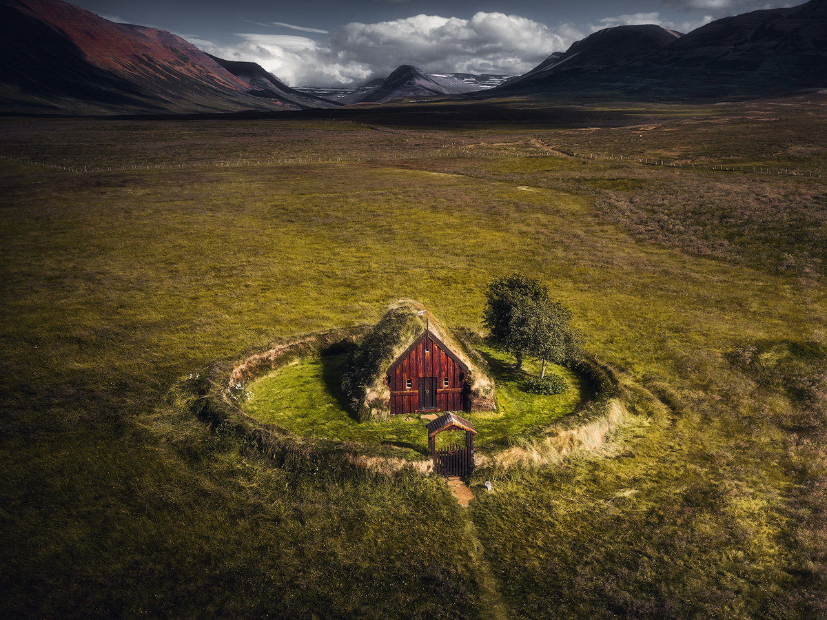 Grafarkirkja turf church on Iceland