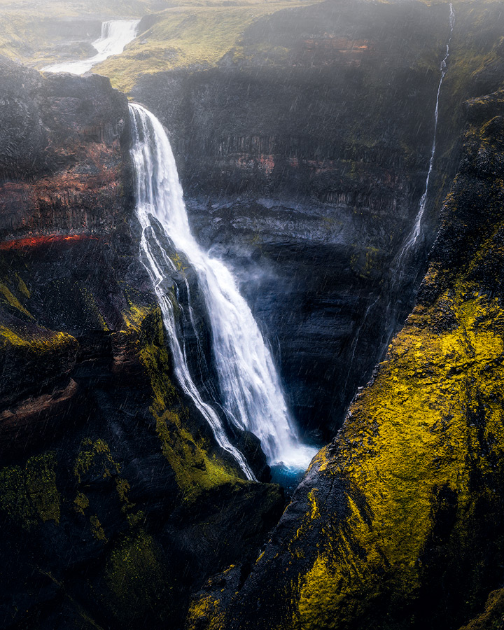 Granni waterfall near Haifoss on Iceland.