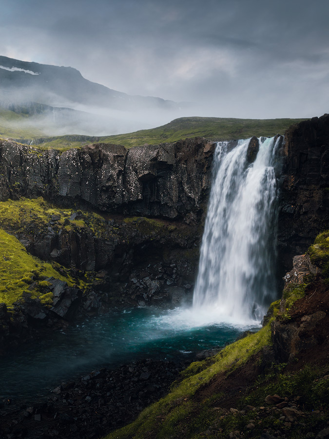 The Walter Mitty waterfall, Gufufoss, on Iceland.