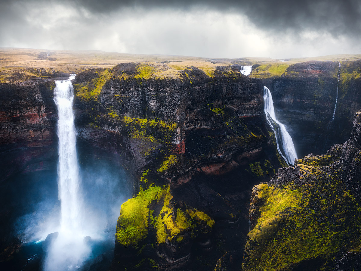 Haifoss and Granni waterfall on Iceland, on a rainy afternoon.