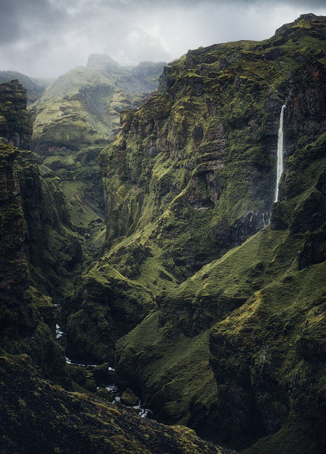 The hidden and gigantic canyon Mulagjufur on Iceland.