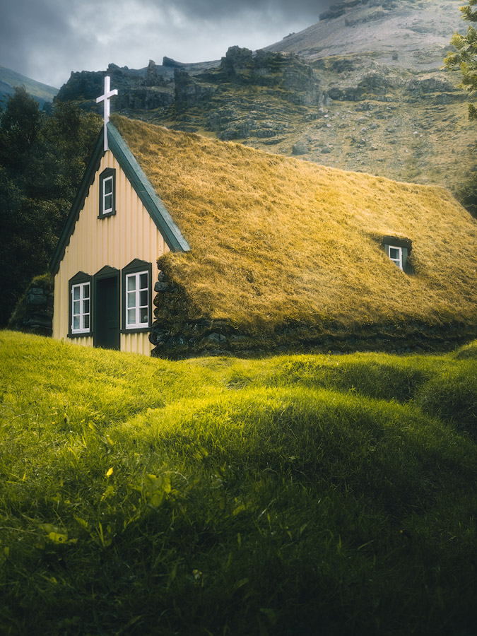 Hofskirkja turf church on Iceland.