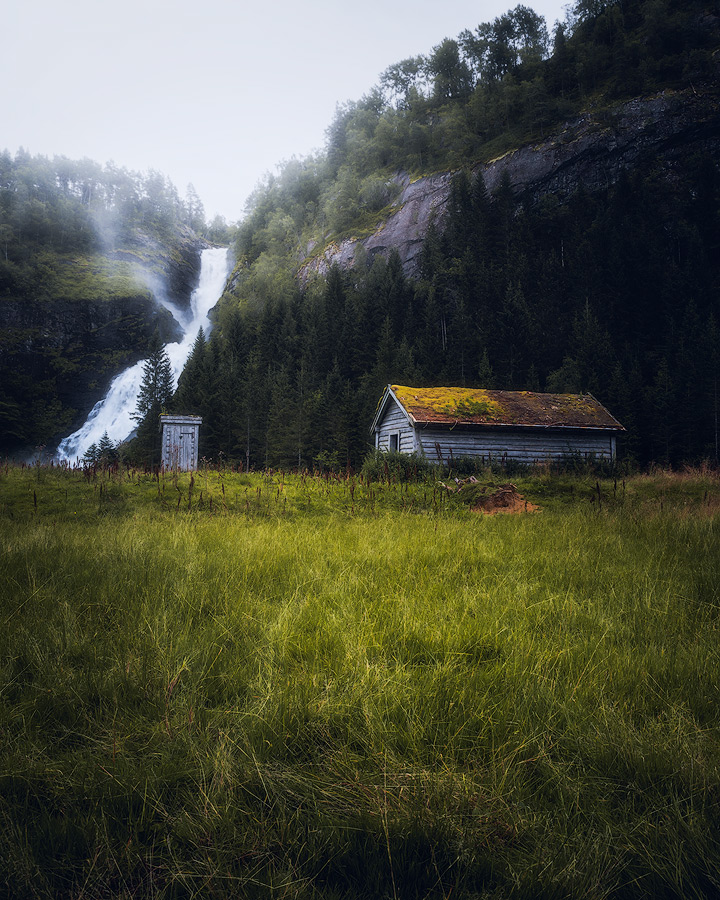 Huldefossen waterfall in Norway