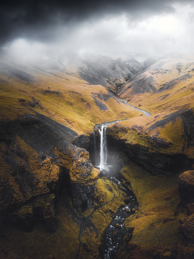 Drone photography of Kvernufoss waterfall on Iceland.