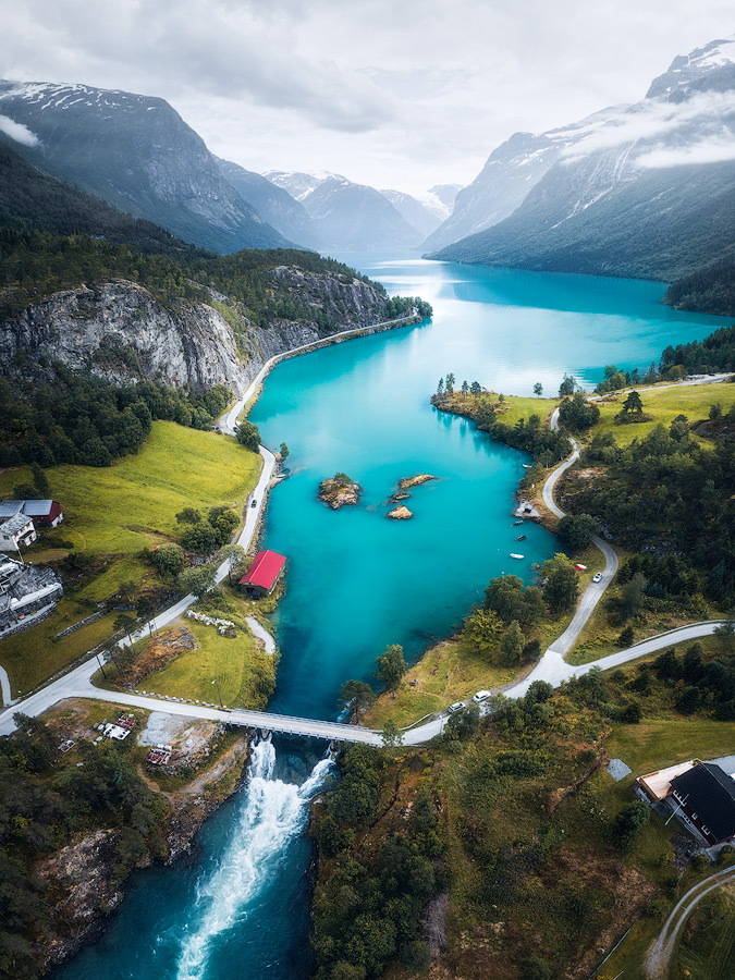 Droneshot of Lovatnet near Stryn in Norway