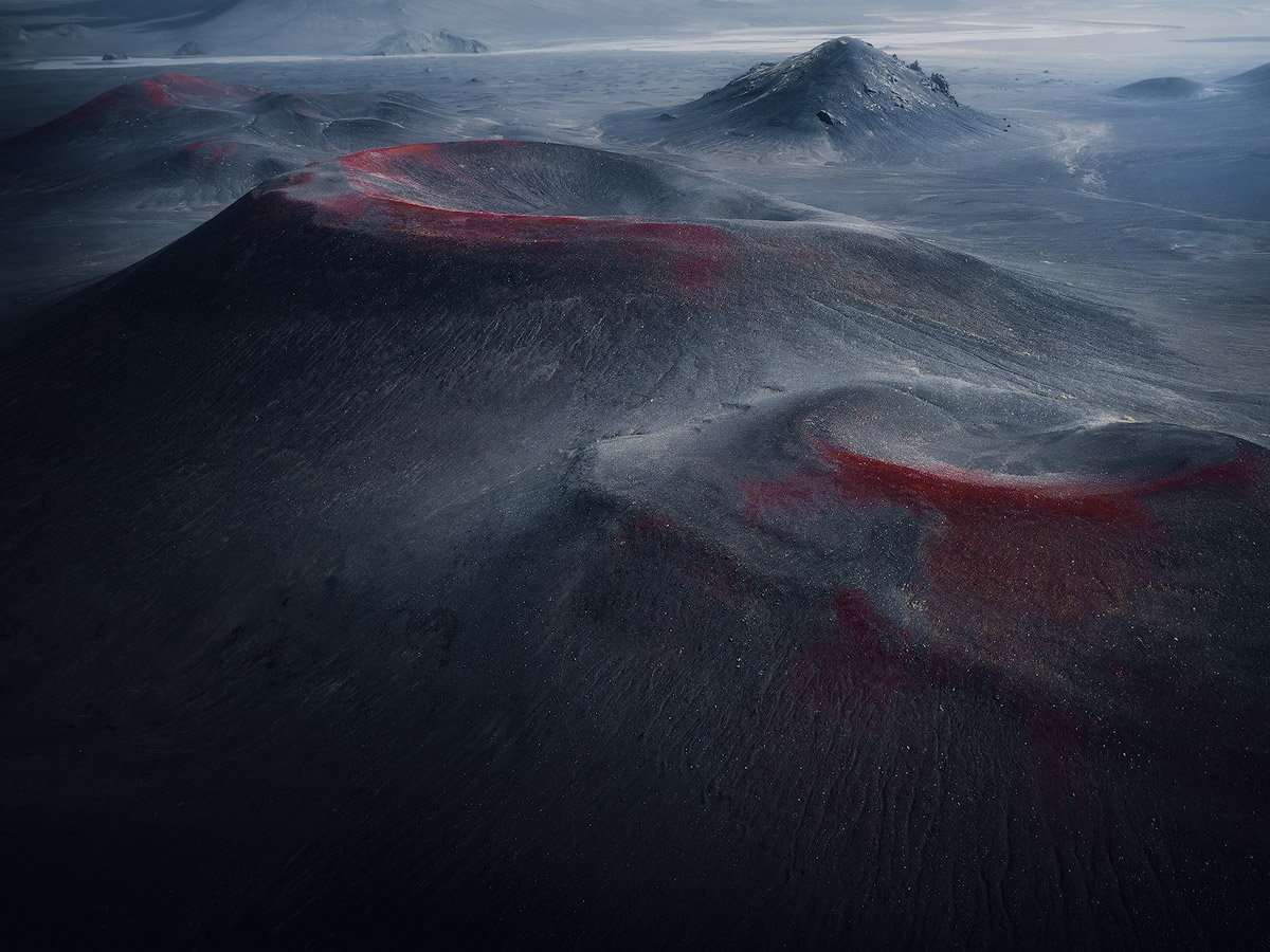 The red and bleeding volcano craters on Iceland.