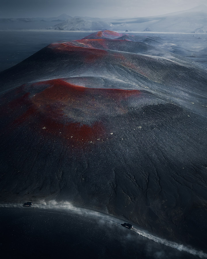 Red volcano craters on Iceland