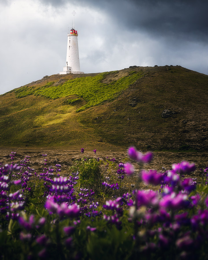 Lighthouse on Reykjanes on South Iceland.
