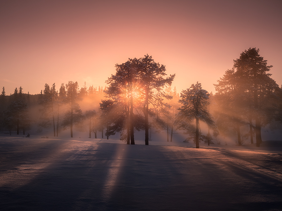 Misty sunset with sun beams in Trondheim.