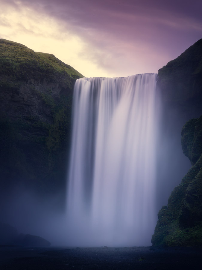Sunset at Skogafoss waterfall on South Iceland.