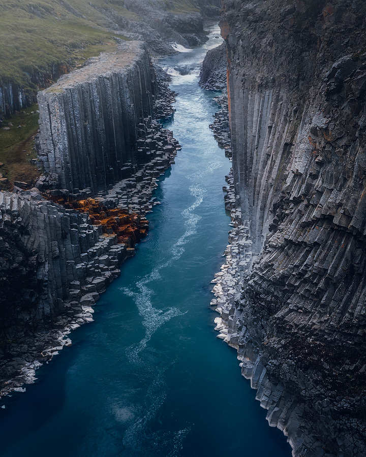 The basalt canyon Studlagil on Iceland.