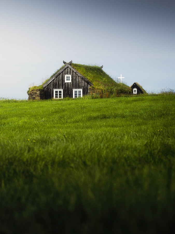 Turf house church on Iceland.