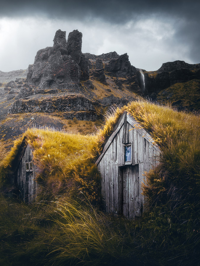 Turf house on Iceland, in spectacular surroundings.