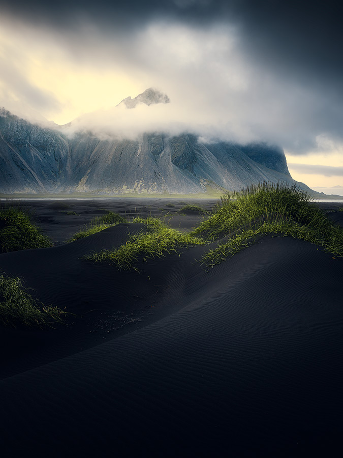 Misty at Vestrahorn on Iceland.