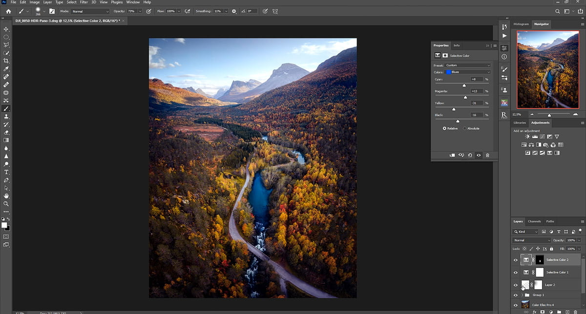 Autumn drone tutorial in Lightroom and Photoshop